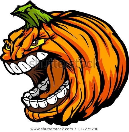 Screaming Halloween Jack O Lantern Pumpkin Head Cartoon Vector I Foto stock © ChromaCo