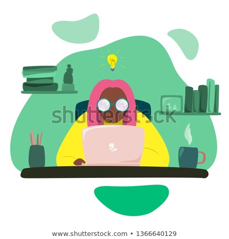 Female laborer sitting on a light bulb Stock photo © photography33