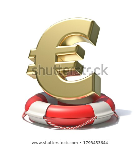 Euro Sign In Red Lifebuoy Isolated On White Stock fotó © djmilic