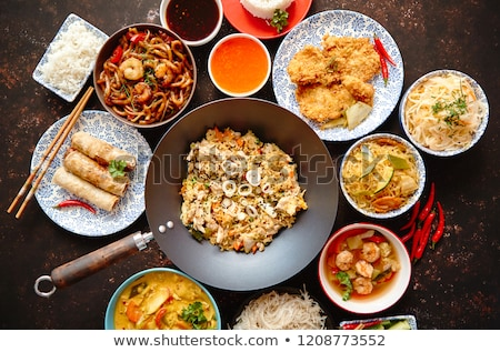 bowl of rice and spring roll stock photo © m-studio