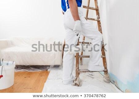 manitas · pared · pintor · azul · Cartoon · ilustración - foto stock © photography33