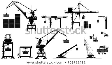 silhuetas · nublado · céu · trabalhar · navio · industrial - foto stock © rufous