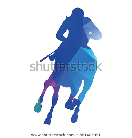 Horse  racing silhouettes. Colored Vector illustration for desig Stock photo © leonido