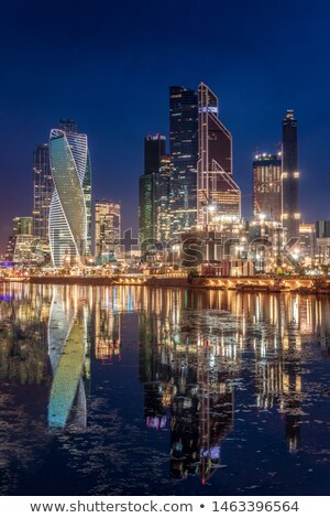 Rosyjski Night City Moskwa miasta wieżowiec domu Zdjęcia stock © vavlt