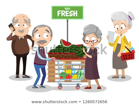 Female customer buying watermelon at supermarket Stock photo © HASLOO