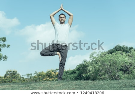 casual man stands in one leg Stock photo © feedough