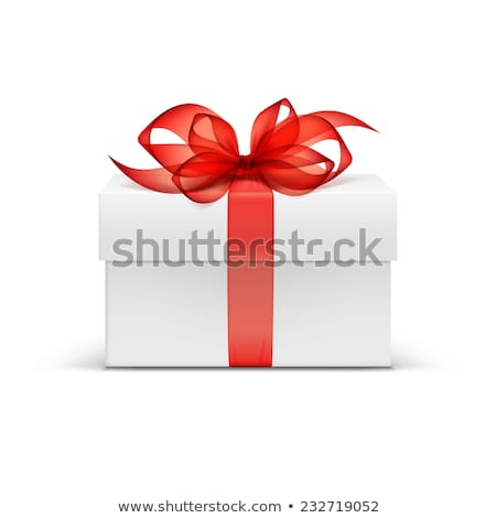 White Gift Box with Red Ribbon and Bow on the Gray Background Stock photo © maxpro