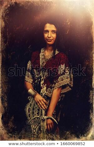 肖像 · 中世 · 女性 · 剣 · 顔 · 森林 - ストックフォト © pxhidalgo