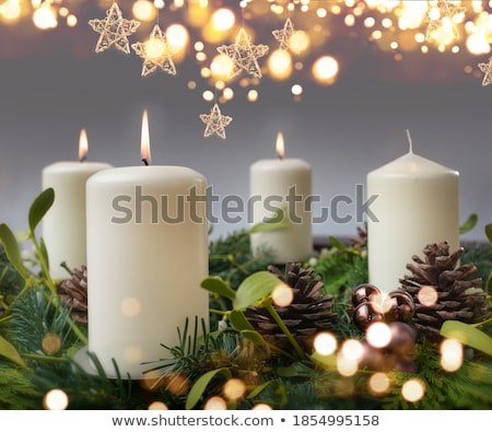 christmas wreath with candles stock photo © tannjuska