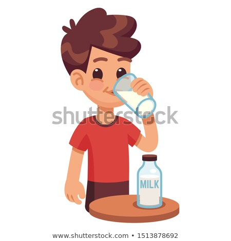 Young kid holding a glass of milk Stock photo © get4net