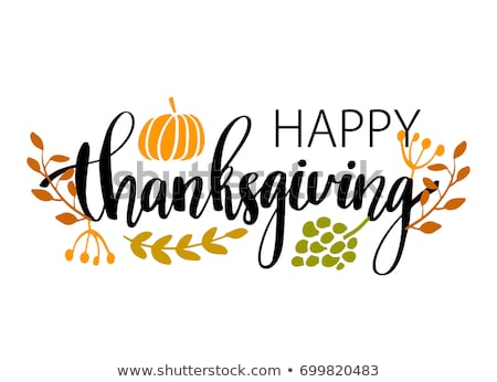 Happy Thanksgiving Drawn Banner With Pumpkin And Fall Leaves Stock fotó © mcherevan
