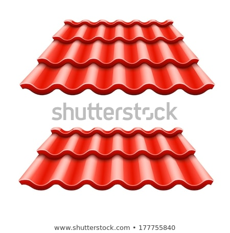 Red corrugated tile element of roof Stock photo © LoopAll