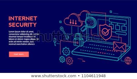Data Security on Blue in Flat Design Style. Stock photo © tashatuvango