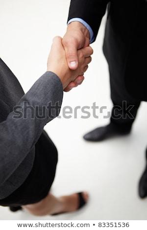 Foto stock: Detalle · empresario · mujer · apretón · de · manos · negocios · manos