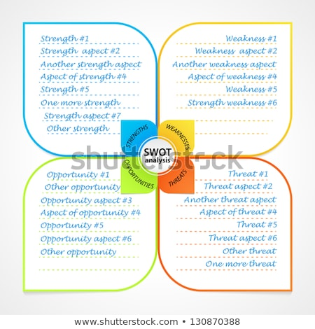 Stock photo: Sheet with SWOT analysis diagram wit space for own strengths, weaknesses, threats and opportunities