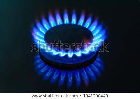 Gas estufa fuego luz casa azul Foto stock © Mikko