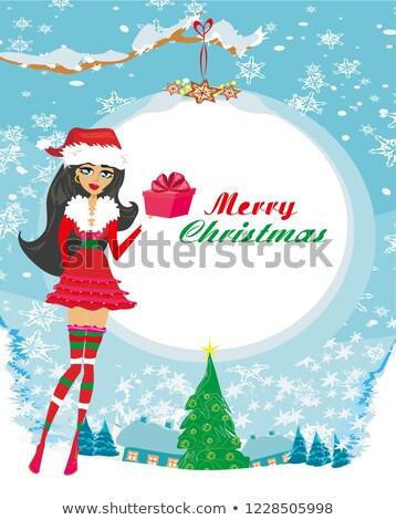 Hermosa pinup nina caja de regalo Navidad moda Foto stock © JackyBrown