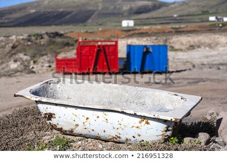 two containers in red and blue in volcanic landscape  Stock photo © meinzahn