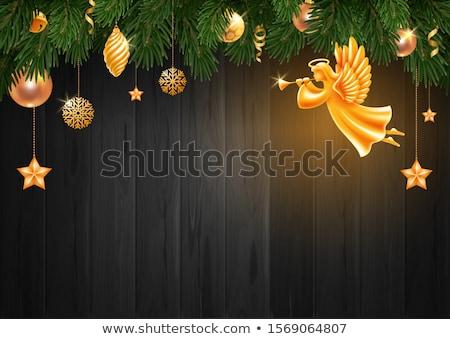 Arany karácsony szobrocska trombita fehér zene Stock fotó © Rob_Stark