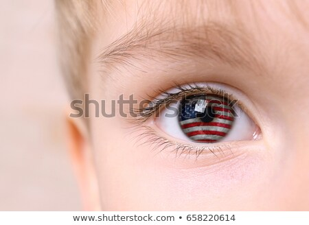 Child's face, eye and american flag Stock photo © olgaaltunina