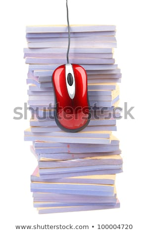 Stok fotoğraf: File Stack And Computer Mouse