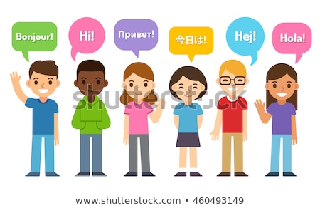 group of kids says hello in different languages stock photo © vectorikart