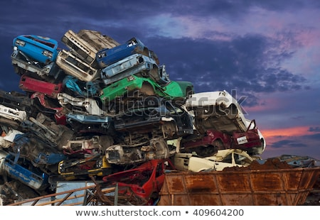 Discarded Cars Stacked at Junk Yard Stock photo © belahoche