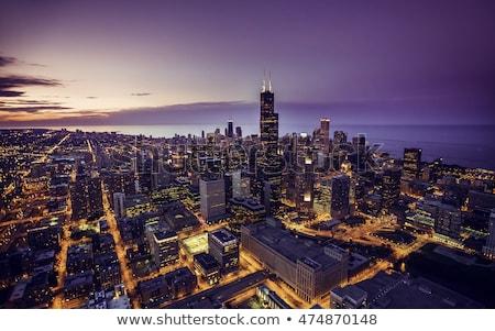 Чикаго ночь центра США луна Skyline Сток-фото © AchimHB