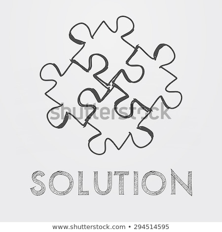 Solution And Puzzle Pieces In Hand Drawn Style Foto stock © marinini
