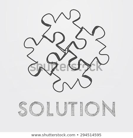 решения головоломки стиль текста знак черно белые Сток-фото © marinini
