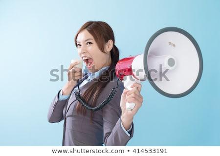 lány · bejelent · megafon · tábla · osztályterem · gyermek - stock fotó © fuzzbones0