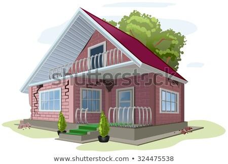 Tuğla kulübe çatlaklar duvarlar kırmızı ev Stok fotoğraf © orensila