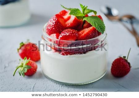 frescos · fresa · yogurt · vainilla · plata · cuchara - foto stock © nalinratphi