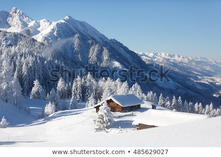 Winter landschap platteland oude huis berg dorp Stockfoto © Kotenko