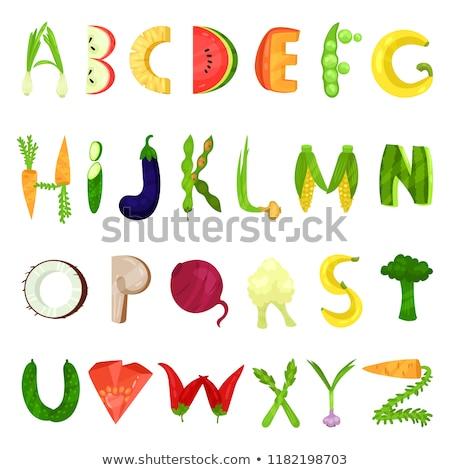 плодов · овощей · алфавит · карт · иллюстрация · школы - Сток-фото © kariiika