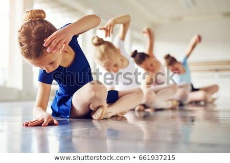 bevallig · ballerina · vergadering · vloer · jonge · zwarte - stockfoto © deandrobot