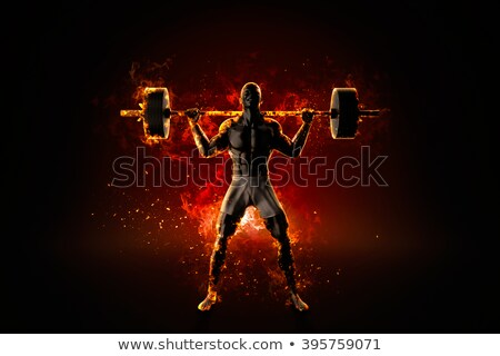 Ferocious bodybuilder with a barbell. 3d rendering Stock photo © Kirill_M