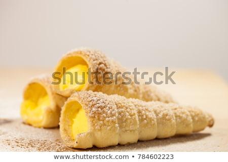 Vla gebak schelpen vers fruit voedsel Stockfoto © Digifoodstock