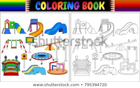 Conjunto colorido crianças projeto fundo azul Foto stock © bluering