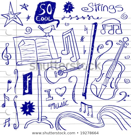 Ballpoint pen drawing with music and instruments Stock photo © Ustofre9