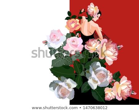 Flamenko stil kart çiçek arka plan yaz Stok fotoğraf © carodi