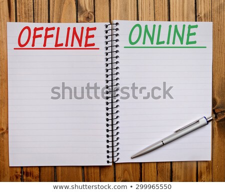 Offline word and office tools on wooden table Stock photo © fuzzbones0