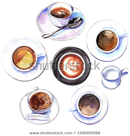 Top down view of tea, lemon and cup Stock photo © ozgur