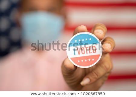 ステッカー シャツ アメリカン 青 フラグ 白 ストックフォト © icemanj