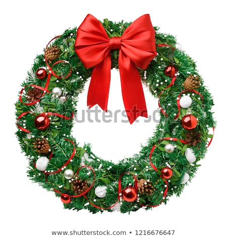 Christmas wreath bows and pine cones Stock photo © ozgur