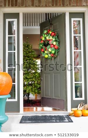 ストックフォト: クリスマス · 歓迎 · 花輪 · 装飾 · 赤 · 星