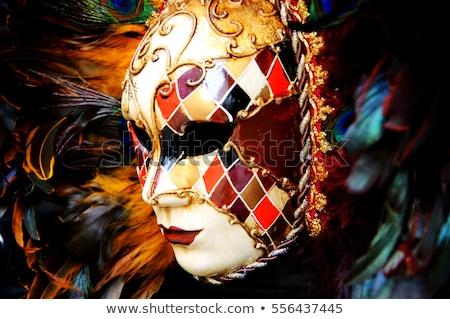 黄色 ベネチアンマスク パーティ 白 目 芸術 ストックフォト © homydesign
