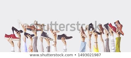 Sok pár sportcipők bolt tornaterem cipők Stock fotó © zeffss