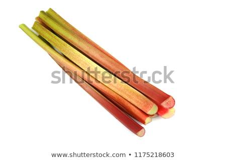Foto stock: Frescos · ruibarbo · corte · pequeño · piezas · grupo