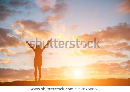 Traveler standing with raised arms up. Stock photo © RAStudio